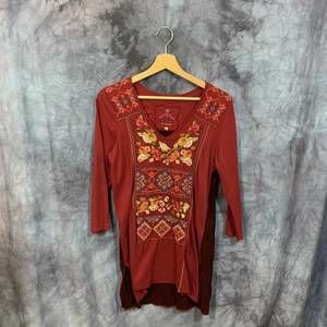 Johnny Was Red Embroidered 3/4 Sleeve Top S